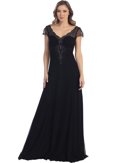 S30139 Romantic Chiffon Evening Gown - Black, Front View Medium