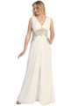 S30255 Sequins and Stones Chiffon Evening Dress - Off White, Front View Thumbnail