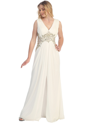 S30255 Sequins and Stones Chiffon Evening Dress, Off White