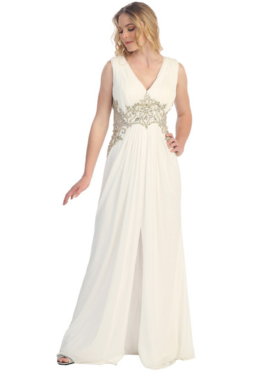 S30255 Sequins and Stones Chiffon Evening Dress - Off White, Front View Medium