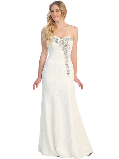 S30259 Lace Sweetheart Rhinestones Formal Evening Gown  - Off White, Front View Medium