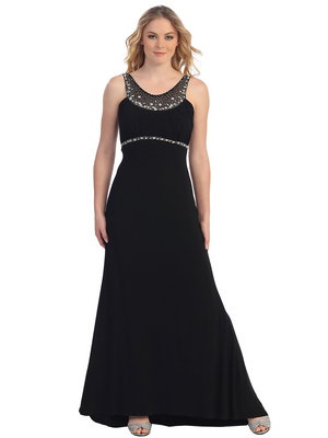 S30292 Pleated Bust Rhinestone Trim Evening Dress, Black