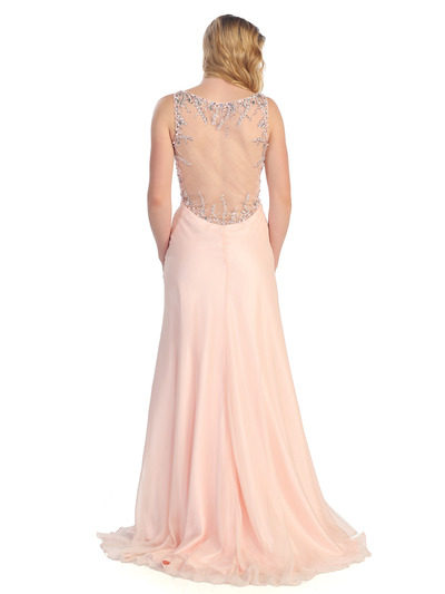 S30296 Sultry Sparkles Evening Dress - Peach, Back View Medium