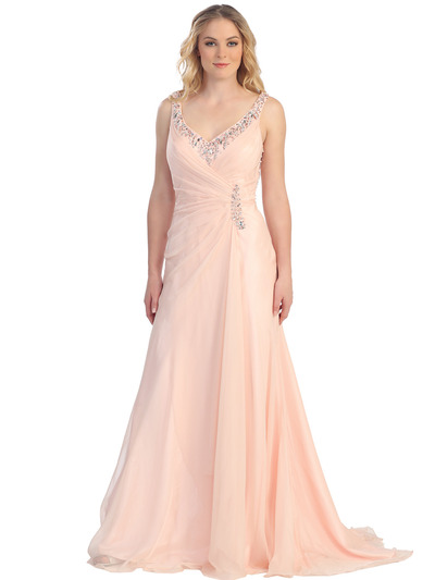 S30296 Sultry Sparkles Evening Dress - Peach, Front View Medium