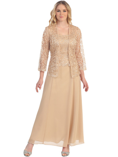 S8466 Long Evening Dress with 3/4 Sleeve Lace Jacket - Gold, Front View Medium