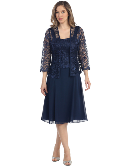 S8485 Knee Length Cocktail Dress with Lace Bolero - Navy, Front View Medium
