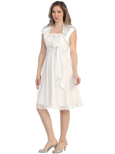 S8573 Cap Sleeve Knee Length Cocktail Dress with Sash - White, Front View Medium