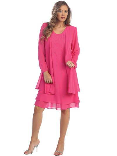 S8694 Knee-length Cocktail Dress with Matching Jacket - Fuschia, Front View Medium