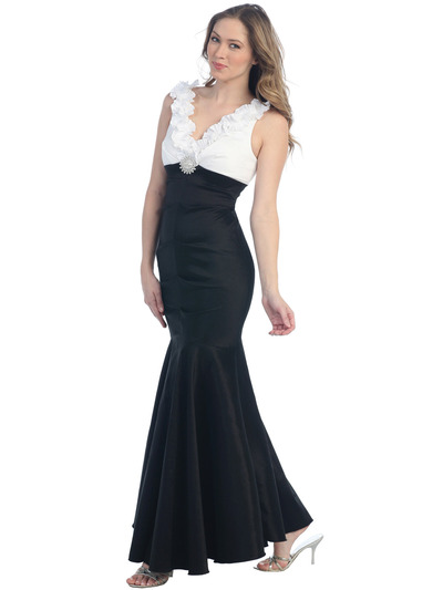 S8703-S Due-tone Mermaid Evening Dress - White Black, Front View Medium