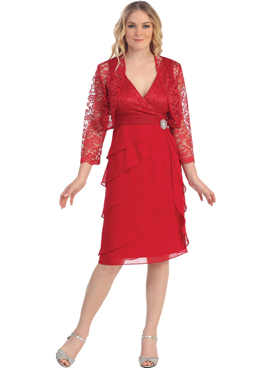S8723 Lace and Layers Cocktail Dress with Bolero - Red, Front View Medium