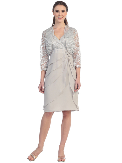 S8723 Lace and Layers Cocktail Dress with Bolero - Silver, Front View Medium