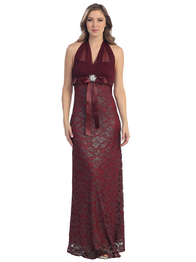S8725 Illusion Halter Lace Overlay Evening Dress - Burgundy, Front View Medium