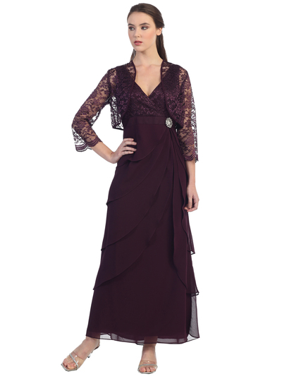 S8729 Sleeveless V-Neck Long Evening Dress - Plum, Front View Medium
