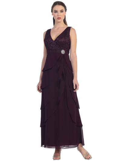 S8729 Sleeveless V-Neck Long Evening Dress - Plum, Alt View Medium