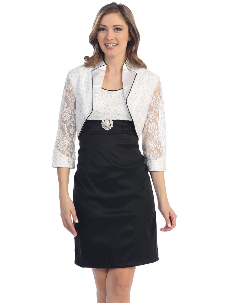 Black and white cocktail dress with bolero jacket sung for Cocktail dress with jacket for wedding