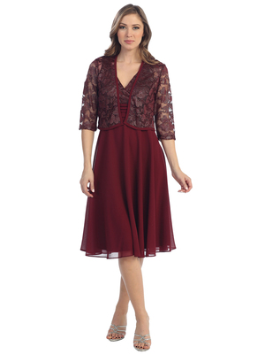 S8735 Sleeveless V-Neck Knee Length Cocktail Dress with Bolero, Burgundy