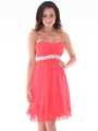 S8736 Chiffon Cocktail Dress - Coral, Back View Thumbnail