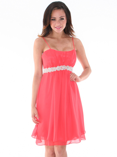 S8736 Chiffon Cocktail Dress - Coral, Back View Medium