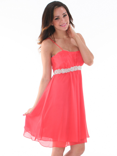 S8736 Chiffon Cocktail Dress - Coral, Front View Medium
