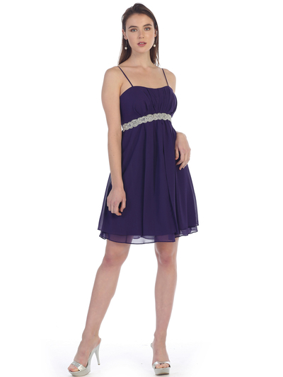 S8736 Chiffon Cocktail Dress - Plum, Front View Medium