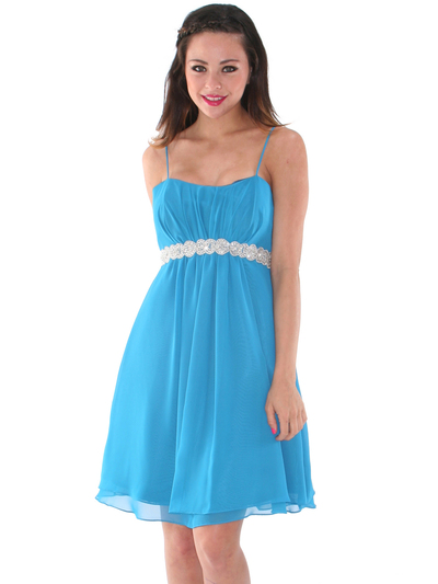 S8736 Chiffon Cocktail Dress - Teal, Front View Medium