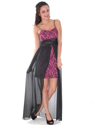S8740 High Low Lace Cocktail Dress, Black Fuschia