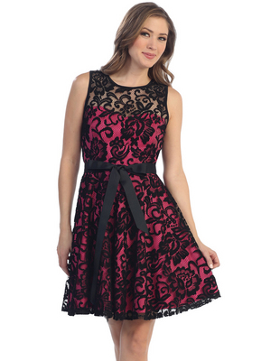 S8741 Lace Overlay Cocktail Dress with Sash, Black Fuschia