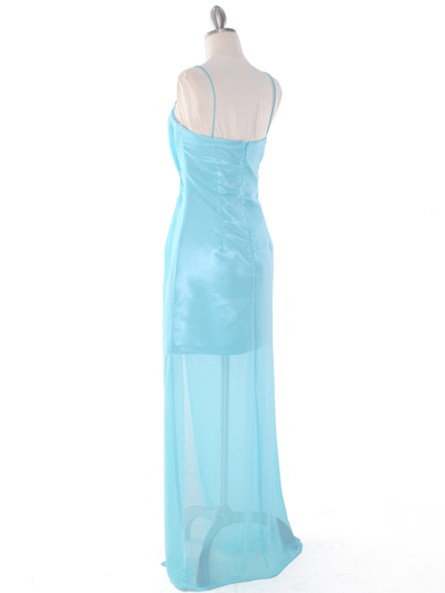 S8742 Chiffon and Satin Knot Evening Dress - Aqua, Back View Medium