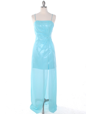 S8742 Chiffon and Satin Knot Evening Dress, Aqua