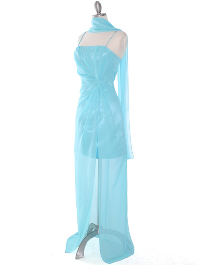 S8742 Chiffon and Satin Knot Evening Dress - Aqua, Alt View Medium