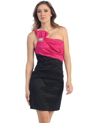 S8746 One Shoulder Cocktail Dress, Black Fuschia