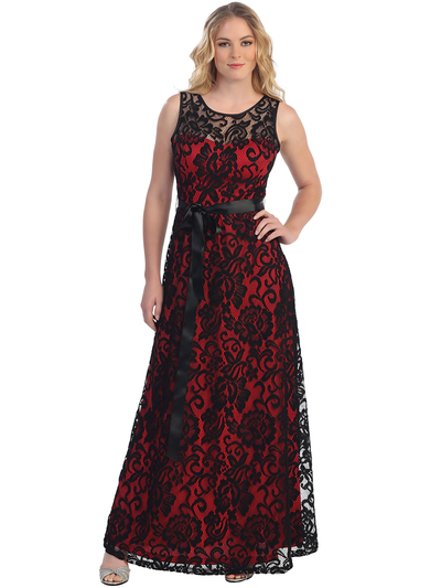 S8749 Sleeveless Lace Overlay Long Evening Dress - Black Red, Front View Medium