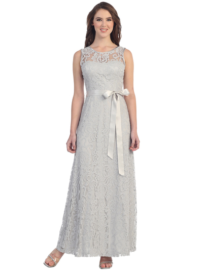 S8749 Sleeveless Lace Overlay Long Evening Dress - Silver, Front View Medium