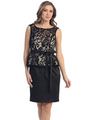 S8750 Peplum Cocktail Dress - Black Gold, Front View Thumbnail