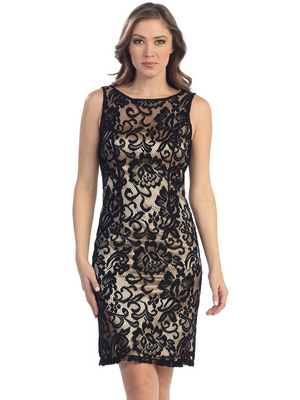 S8751 Lace Overlay Cocktail Dress, Black Gold