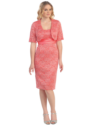 S8752 Formal Cocktail Dress with Bolero - Coral, Front View Medium