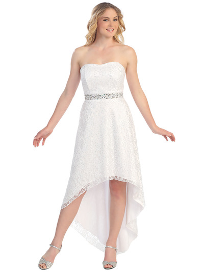 S8763 Lace Strapless High Low Cocktail Dress - White, Front View Medium