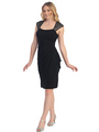 S8764 Cap Sleeve Little Black Dress - Black, Front View Thumbnail