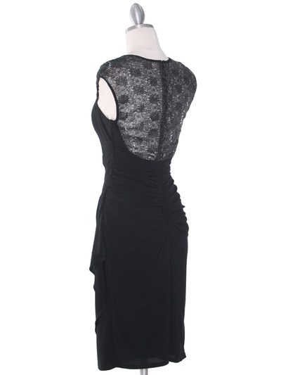 S8764 Cap Sleeve Little Black Dress - Black, Back View Medium