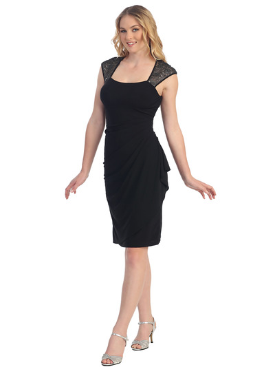 S8764 Cap Sleeve Little Black Dress - Black, Front View Medium