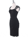 S8764 Cap Sleeve Little Black Dress - Black, Alt View Thumbnail