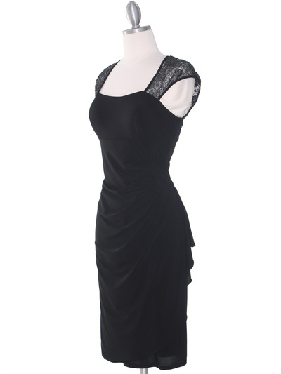 S8764 Cap Sleeve Little Black Dress - Black, Alt View Medium