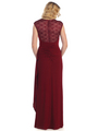 S8766 Lace Cap Sleeve Evening Gown - Burgundy, Back View Thumbnail