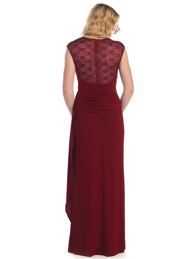 S8766 Lace Cap Sleeve Evening Gown - Burgundy, Back View Medium