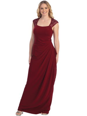 S8766 Lace Cap Sleeve Evening Gown, Burgundy