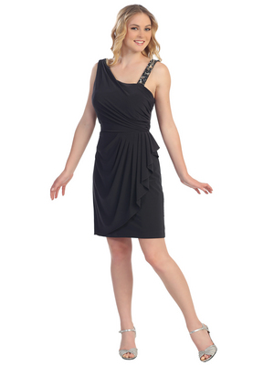S8767 Wrap Skirt Cocktail Dress, Charcoal