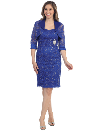S8769 Lace and Elegant Cocktail Dress and Bolero Set - Royal Blue, Front View Medium