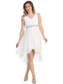 S8776 V Neck Short Sleeves Cocktail Dresses - White, Front View Thumbnail