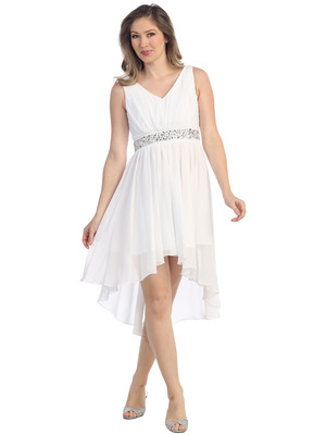 S8776 V Neck Short Sleeves Cocktail Dresses, White