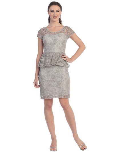 S8782 Short Sleeve Lace Overlay Cocktail Dress  - Silver, Front View Medium